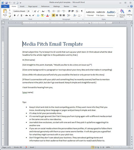 media pitch template