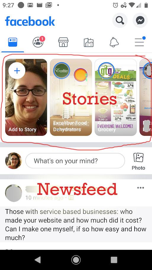 mobile story vs newsfeed