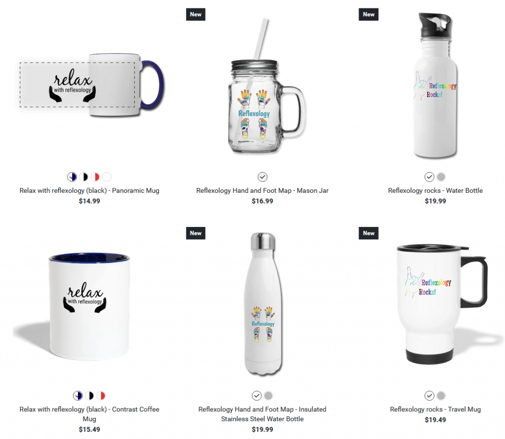 mugs and drinkware with reflexology designs