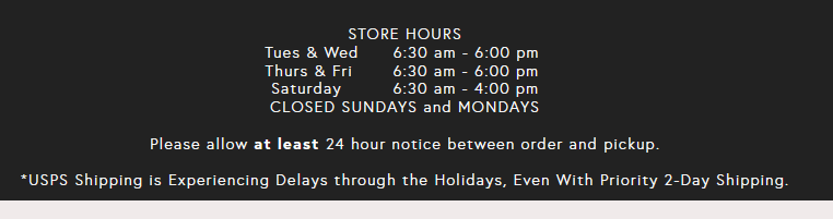 website lists pickup and hours